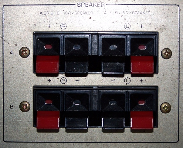 Speaker terminals for 2 sets of speakers: A and B